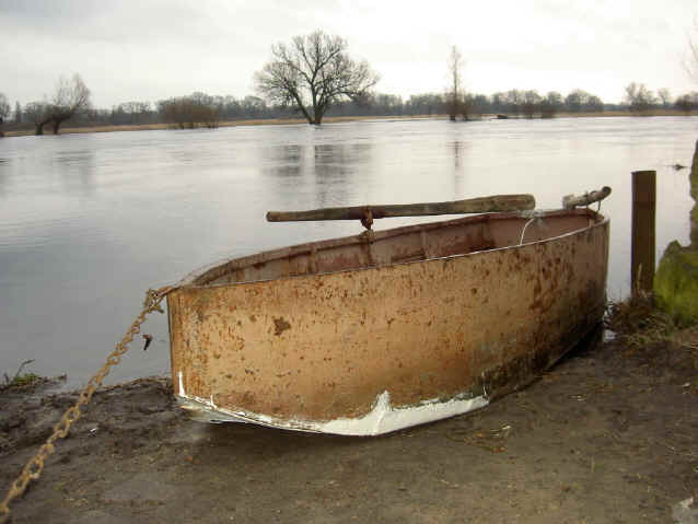 boat on river warta Poland